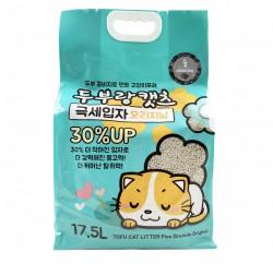 韓國 豆腐與貓 - 極幼條(1.5mm)豆腐貓砂 - 椰殼炭 17.5L x 3包 (原箱優惠)