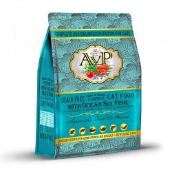 AVP愛威堡 鮮肉無榖蔬果天然全貓深海六種魚糧 5磅
