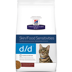 [凡購買處方用品, 訂單滿$500或以上可享免費送貨]  Hill's d/d 皮膚/食物敏感 (鹿味) 獸醫配方 貓乾糧 3.5磅 到期日: May 2021