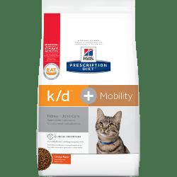 [凡購買處方用品, 訂單滿$500或以上可享免費送貨]  Hill's k/d + Mobility 腎臟+關節保健 獸醫配方 (雞味) 貓乾糧 6.35磅