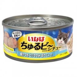 CIAO  流心粒粒 燒鰹魚 + 雞肉 + 帶子湯貓罐 85g IM-353