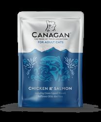Canagan 原之選 無穀物成貓 雞肉+三文魚配方湯包 85g x8包優惠