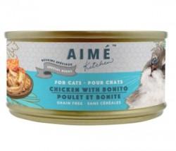 Aimé Kitchen 銀罐系列 汁煮滑雞配鰹魚柳 低磷低鎂老貓罐 85g (淺藍) x24罐 原箱優惠