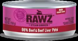 RAWZ 96% 牛肉及牛肝 全貓罐頭 156g x24罐優惠