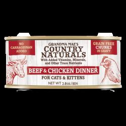Country Naturals 無穀物 牛肉走地雞角切肉塊配方 貓罐頭 2.8oz