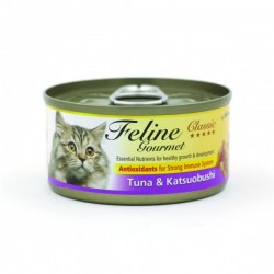 Feline Gourmet  化毛球 吞拿魚+柴魚 80g• 抗氧化物增強免疫系統