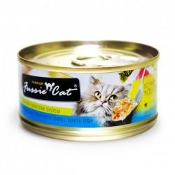 Fussie Cat 吞拿魚+白魚 罐頭 80g