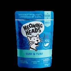 Meowing Heads - Surf & Turf 貓頭 無穀物貓用濕食包 (93%沙甸魚+吞拿魚&+雞肉+草飼牛), 100g
