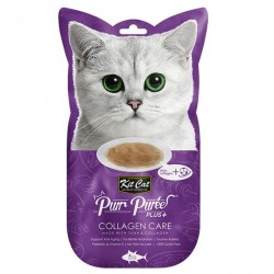 Kit Cat Purr Puree Plus+ 膠原蛋白吞拿魚醬 (膠原蛋白護理) 貓小食 60g (15g x4小包) <紫色>