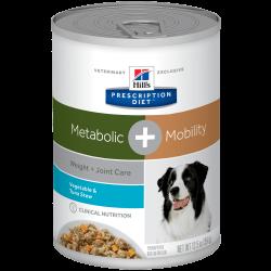 [凡購買處方用品, 訂單滿$500或以上可享免費送貨]  Hill's  Metabolic + Mobility 新陳代謝、體重控制及關節護理 蔬菜燉吞拿魚 處方狗罐頭 12.5oz x12罐 原箱優惠