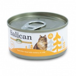 Salican 挪威森林 白肉吞拿魚+鯷魚 啫喱貓罐頭  85克