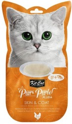 Kit Cat Purr Puree Plus+ 魚油雞肉醬 (皮膚護理) 貓小食 60g (15g x4小包) <橙色>