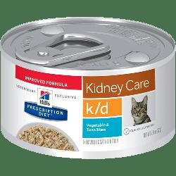 [凡購買處方用品, 訂單滿$500或以上可享免費送貨]  Hill's k/d 腎臟護理 (燉蔬菜吞拿魚口味) 處方貓罐頭 2.9oz x24罐 原箱優惠