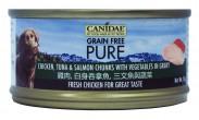 購物滿$300, 可以以$12換購<<Canidae Pure 無穀物 全犬主食罐頭 雞肉,白身吞拿魚, 三文魚與蔬菜 70g>>