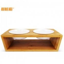 田田貓天然竹制貓餐桌貓碗架( 配2個陶瓷貓碗)