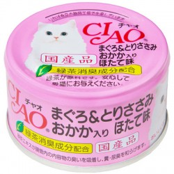 CIAO  木魚片+元貝味 吞拿魚雞肉 貓罐頭 80g A-25
