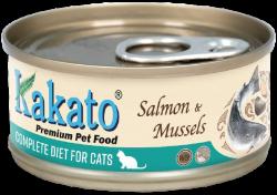 Kakato 卡格 三文魚+青口 貓用主食罐 70g (綠松色)