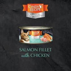 Cindy's Recipe Signature 系列 - 三文魚配雞肉湯 貓主食罐 70g (綠松色) x12罐 原箱優惠