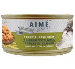 Aimé Kitchen 銀罐系列 頂級雞皇燴鮮鴨肉 低磷低鎂老貓罐 85g (綠) x24罐 原箱優惠