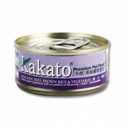 Kakato 卡格 雞, 牛, 糙米, 菜 Chicken, Beef, Brown Rice & Vegetables 貓狗罐頭 170g