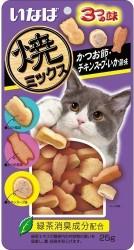 INABA QSC-122 燒鰹魚餅貓小食 - 鰹魚, 雞, 魷魚味 25g