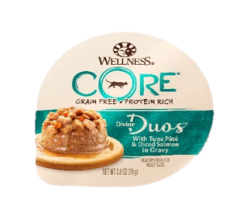 Wellness Core Divine Duos  雙重滋味杯 吞拿魚茸+三文魚肉丁 2.8oz x12罐優惠